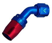 45° Compression AN Swivel (Red/Blue)